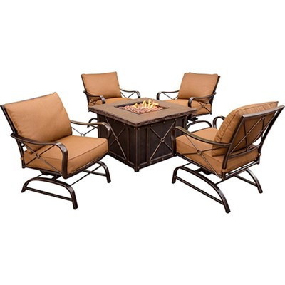 Summer Nights 5-Piece Fire Pit Set in Woodland Rust - SUMMRNGHT5PC