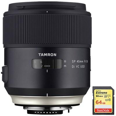 SP 45mm f/1.8 Di VC USD Lens f/Canon EOS Mount (AFF013C-700) w/ 64GB Memory Card
