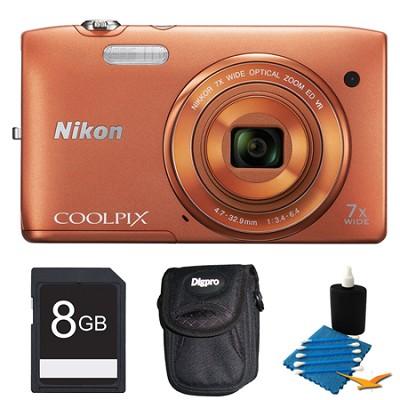 COOLPIX S3500 Orange Digital Camera 8GB Bundle
