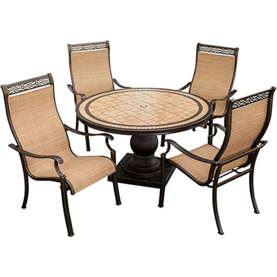 Monaco 5-Piece High Back Sling Chair Outdoor Dining Set - MONACO5PC