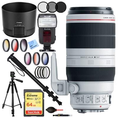EF 100-400mm f/4.5-5.6L IS II USM Lens (9524B002) with 64GB Filter and Flash Kit