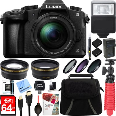 LUMIX G85 4K Mirrorless Camera with 12-60mm Lens + 64GB Memory & Flash Bundle