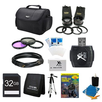 Lens Set, 32GB SD Card, Case, Battery, Filter Kit, Card Reader, and More