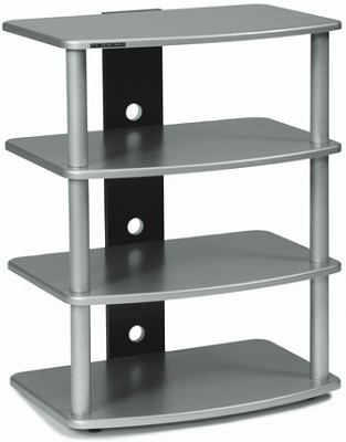 SF-4A Audio/Video Component Rack (Silver) w/ Silver Steel Posts