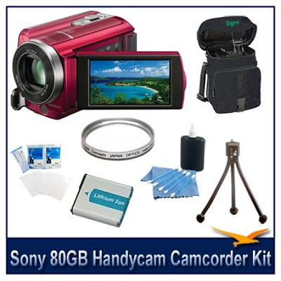 DCR-SR68 80GB Handycam Camcorder (Red) with Spare Battery, Case and More