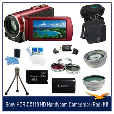 HDR-CX110 HD Handycam Camcorder (Red)With 16GB Memory  card, Case, and more