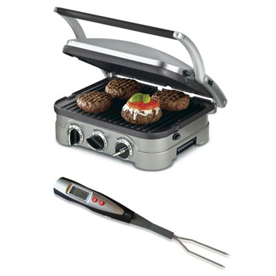 GR-4N 5-in-1 Griddler with Cuisinart Digital Thermometer Fork Bundle