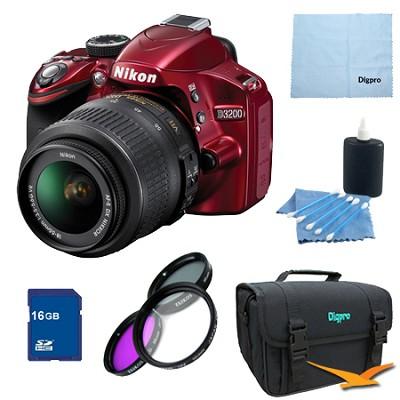 D3200 DX-format Digital SLR 16GB Kit w/ 18-55mm DX VR Zoom Lens (Red)