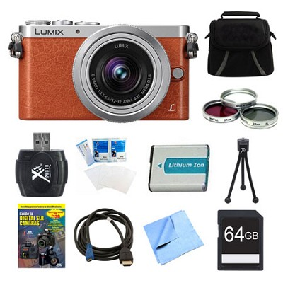 LUMIX DMC-GM1 DSLM Orange Camera with 12-32mm Lens 64GB Bundle