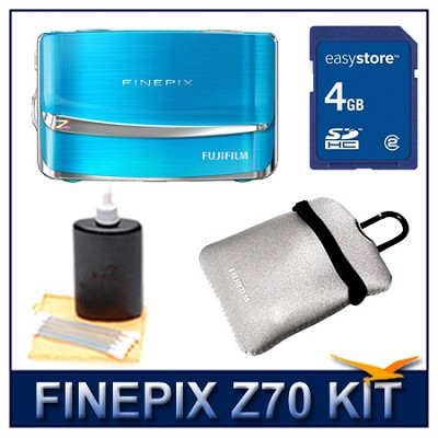 FINEPIX Z70 Blue + 4GB Memory Card + Camera Case + 3pc. Lens Cleaning Kit