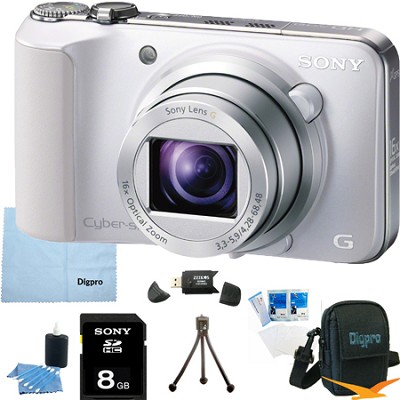 Cyber-shot DSC-HX10V (White) 18.2 MP 16x Zoom 3D Sweep HD Video with 8GB Bundle