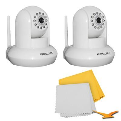 2 pack FI9821W v2 1.0 Megapixel (1280x720p) H.264 Wireless IP Camera - White