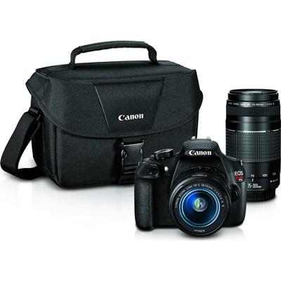 EOS Rebel T5 Digital SLR Camera w/ EF-S 18-55mm IS II + EF 75-300mm f/4-5.6 III