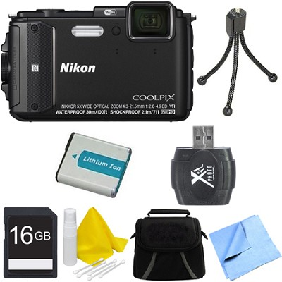 COOLPIX AW130 Waterproof Shockproof Freezeproof Digital Camera 16GB Bundle Black