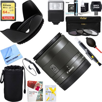Wide Angle EF-M 11-22mm f/4-5.6 IS STM Lens 7568B002 + 64GB Ultimate Kit