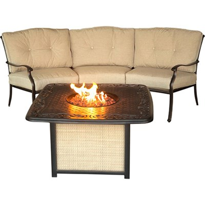 Traditions 2pc Fire Pit Set: 1 Crescent Sofa 1 Cast Top Fire Pit w/lid