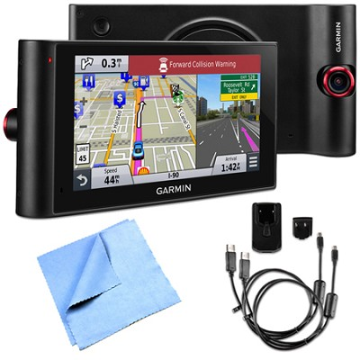 nuviCam LMTHD 6` GPS with Built-in Dashcam, Maps & HD Traffic AC Adapter Bundle