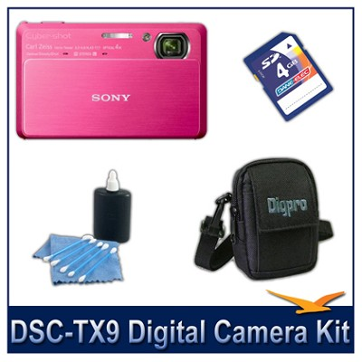 Cyber-shot DSC-TX9 Digital Camera (Red) with 4GB Card, Case, and More