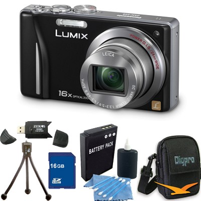 Lumix DMC-ZS8 14MP Black Digital Camera w/ 16x Zoom 16GB Bundle