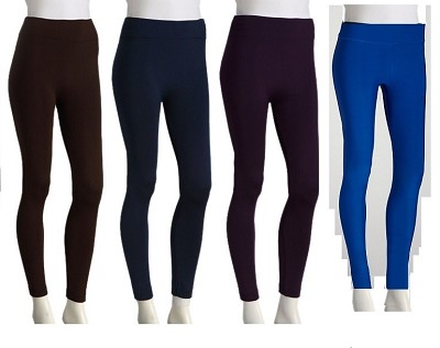 4-Pack Fleece Leggings (1 Brown, 1 Navy, 1 Royal, 1 Purple) 1X/2X