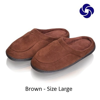 Memory Foam Slippers in Brown Size Large (M 8-9, W 10-11)
