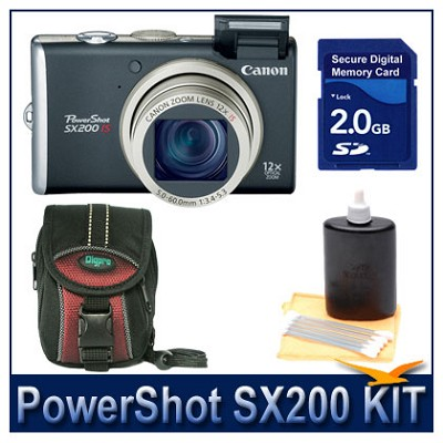 PowerShot SX200 Black Kit w/ 2G SD Card, Case, and More