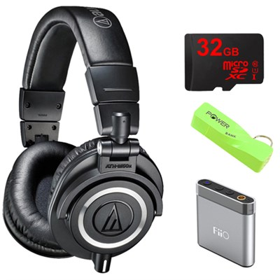 ATH-M50X Professional Studio Black Headphone w/ Powerbank, 32gb Micro SD & Amp