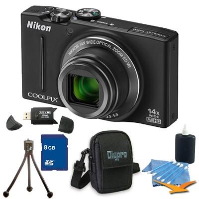 COOLPIX S8200 Black 14x Zoom 16MP Digital Camera 8GB Bundle