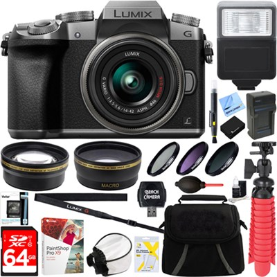 LUMIX G7 Interchangeable Lens 4K Silver DSLM Camera 14-42mm Lens + 64GB Bundle