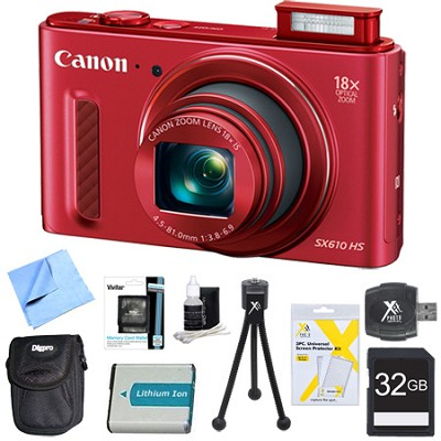 PowerShot SX610 HS 20.2 MP Digital Camera 18x Zoom 3` LCD Red 32GB Super Bundle