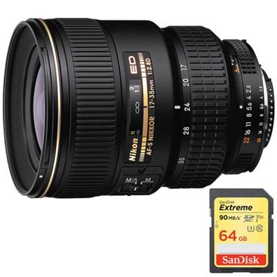 17-35mm F/2.8D ED-IF Zoom-Nikkor AF Lens, With Nikon w/ 64GB Memory Card