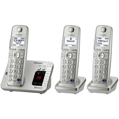 KX-TGE263S DECT 6.0 Link2Cell Bluetooth Cellular Conv. 3 Handsets REFURBISHED
