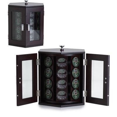 Wallace Dark Walnut Rotating Coffee Pod Cabinet - 5114376