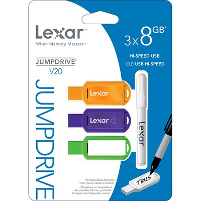 8GB V20 JumpDrive Assorted Colors 3-Pack (Blister Pack)