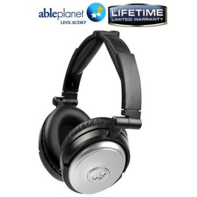 NC190SM Travelers Choice Active Noise Canceling Headphones w/ LINX AUDIO -Silver