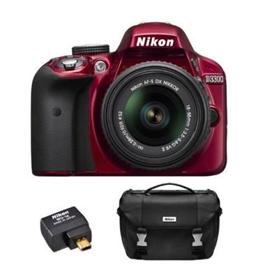 Refurbished D3300 24.2MP DSLR Camera w/ 18-55 VR II Lens + Case & Wifi Kit (Red)