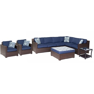 Metropolitan 8-Piece Lounge Set in Navy Blue - METRO8PC-B-NVY
