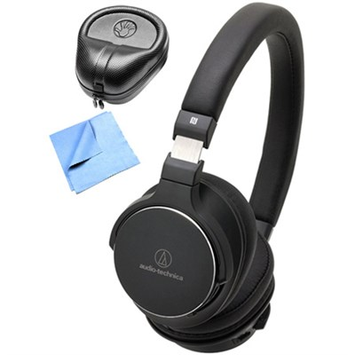 Wireless On-Ear High-Resolution Headphone w/ Slappa Case & Cleaning Cloth, Black