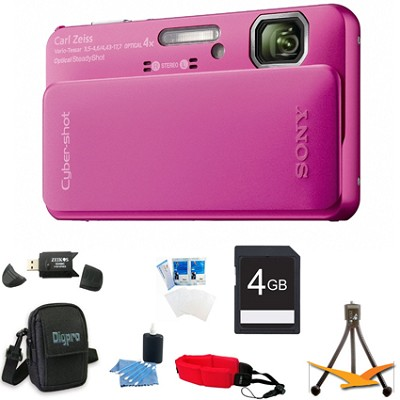 Cyber-shot DSC-TX10 Pink Digital Camera 4GB Bundle