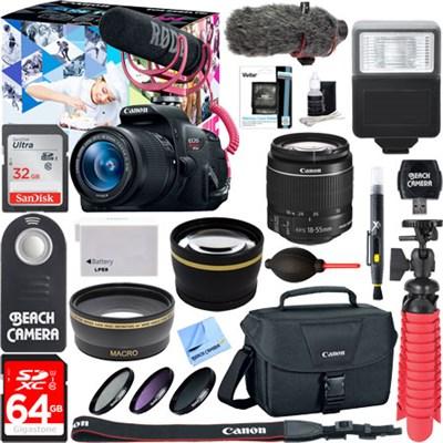 EOS Rebel T5i Video Creator w/ 18-55mm Lens, Rode Video Mic, 64GB Memory Bundle