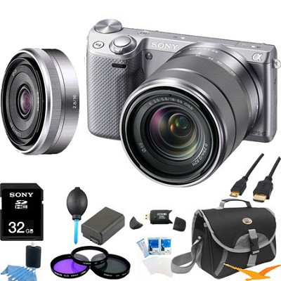 NEX-5RK/S Compact Camera with 18-55 Lens (Silver) and SEL 16mm f2.8 Lens