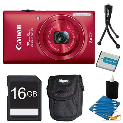 PowerShot ELPH 130 IS Red 16MP Digital Camera 16GB Bundle