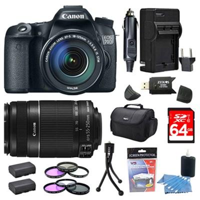 EOS 70D 20.2 MP CMOS Digital SLR Camera and EF-S 18-135mm 64GB Bundle