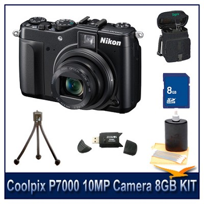 Coolpix P7000 10MP Camera 8GB Bundle w/ Case, Reader, Tripod & More