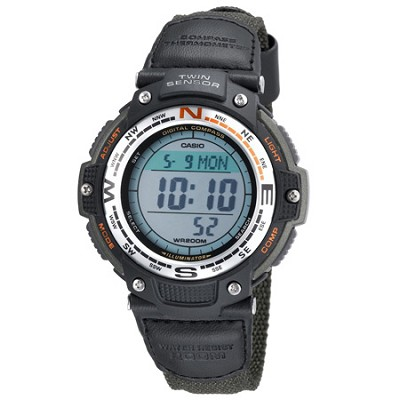 Men's SGW100B-3V Digital Compass Twin Sensor Green Nylon Band Sport Watch