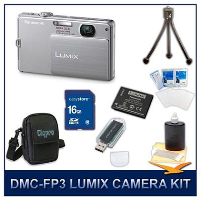 DMC-FP3S LUMIX 14.1 MP Digital Camera (Silver), 16GB SD Card, and Camera Case