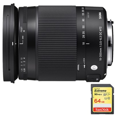 18-300mm F3.5-6.3 DC Macro OS HSM Lens for Nikon DX Cameras w/64GB Memory Card