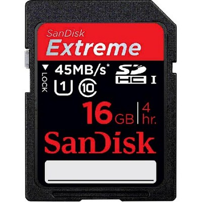 16 GB Extreme HD Video Secure Digital Memory Card 45MB/s (Class10)