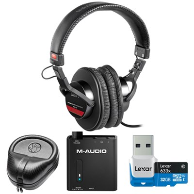 Studio Monitor Headphones with CCAW Voice Coil - MDR-V6 w/ M-Audio Amp. Bundle