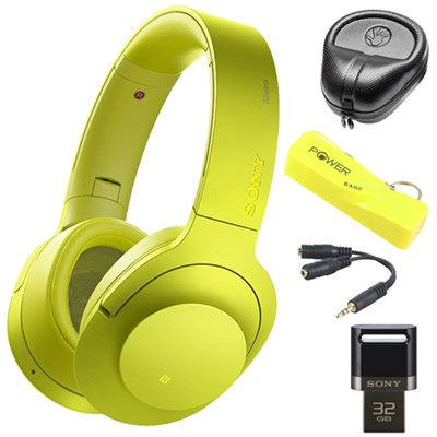 Wireless NC On-Ear Bluetooth Headphone w/ NFC Yellow w/ 32 GB Flash Drive Bundle